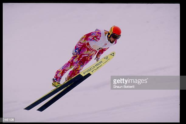 Reiichi Mikata of Japan competes in the team nordic combined event during the Winter Olympics in Albertville, France.