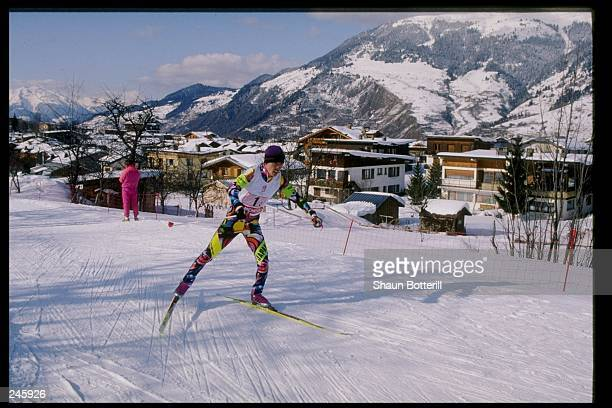Reiichi Mikata of Japan skis during the Nordic team combined during the Olympic Games in Lillehammer, Norway. Japan took first place. Mandatory...