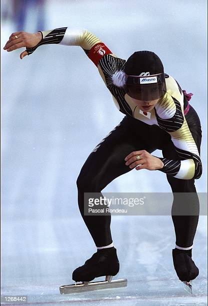 Seiko Hashimoto of Japan in action during the Women's 5000 metres Speed Skating event at the 1992 Winter Olympic Games in Albertville, France. \...