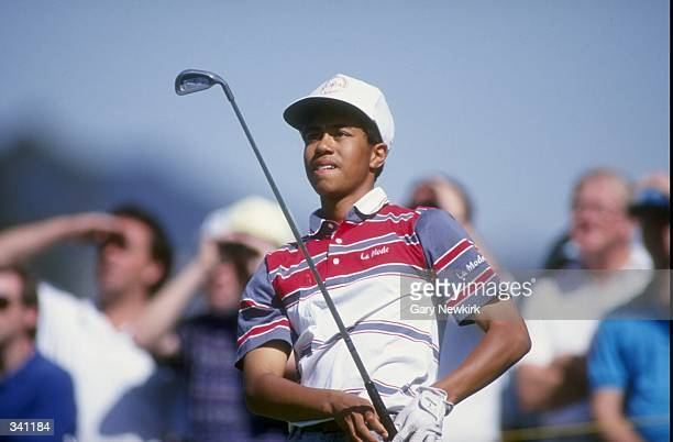 Tiger Woods watches his shot during the 1992 Los Angeles Open at the Riviera Country Club in Pacific Palisades, California. Mandatory Credit: Gary...