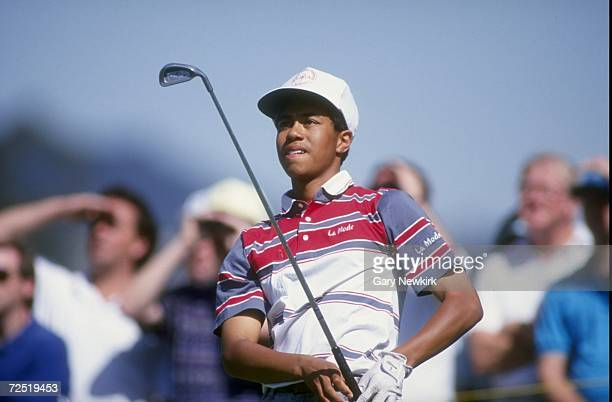 Tiger Woods watches his shot during the 1992 Los Angeles Open at the Riviera Country Club in Pacific Palisades California Mandatory Credit Gary...