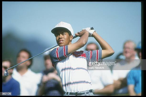 Tiger Woods watches the ball fly during the Los Angeles Open in Los Angeles, California. Mandatory Credit: Gary Newkirk /Allsport