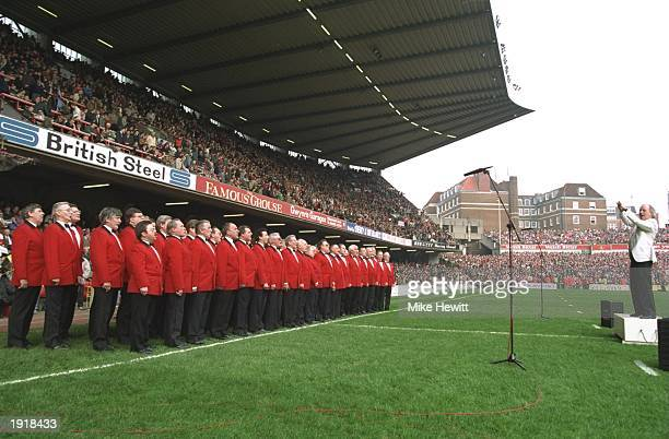 A Welsh male choir inspire the players and fans with their singing in the Wales v England match during the 1993 Five Nations Championships at Cardiff...