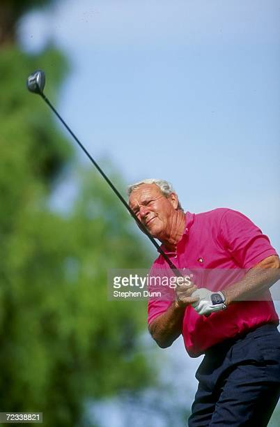 Arnold Palmer watches his shot during the Hope Chrysler Classic Golf Tournament on the Palmer Course at PGA West in La Quinta, California. Mandatory...