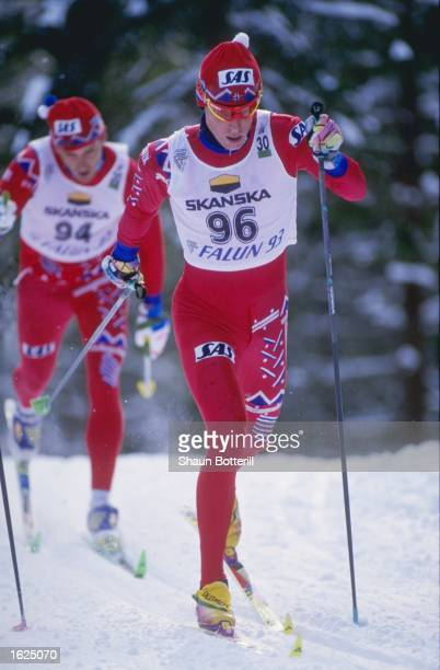 Bjorn Daehlie of Norway in action during the 30 Kilometre event at the Nordic World Ski Championships in Falun Sweden Dahlie won the event Mandatory...