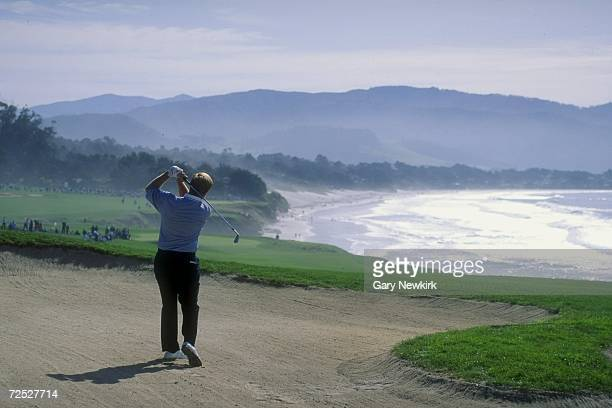 Jack Nicklaus hits a shot out of the bunker on the eighth hole during the 1993 ATT Pebble Beach ProAm at the Pebble Beach Golf Course in Pebble Beach...