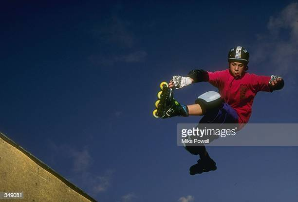 Jimmy Tremble performs during a rollerblading event Mandatory Credit Mike Powell /Allsport