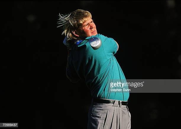 John Daly watches the ball after hitting it during the ATT Pebble Beach in Pebble Beach California Mandatory Credit Stephen Dunn /Allsport