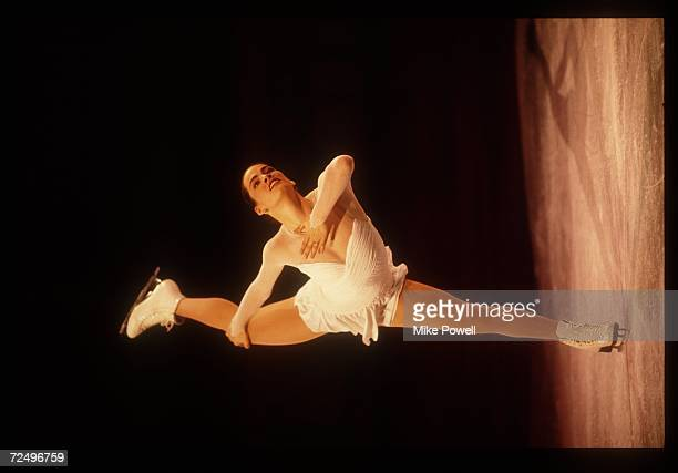 Nancy Kerrigan takes first place in the women's figures at the 1993 US Figure Skating Nationals
