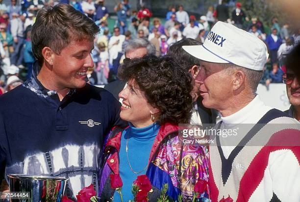 Phil Mickelson celebrates with his parents after winning the 1993 Buick Invitational at the Torrey Pines Golf Course in Torrey Pines, California....