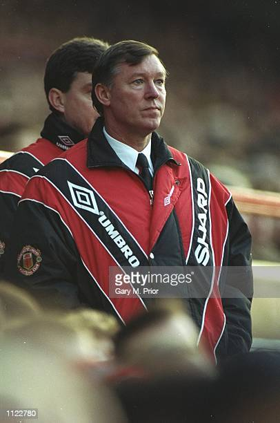 Portrait of Manchester United Manager Alex Ferguson during an FA Carling Premiership match against Middlesbrough at Old Trafford in Manchester,...