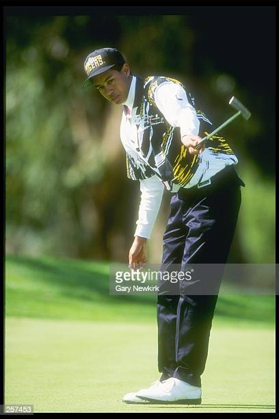 Tiger Woods finishes a short swing during the 1993 Los Angeles Open at the Riviera Country Club in Pacific Palisades, California. Mandatory Credit:...
