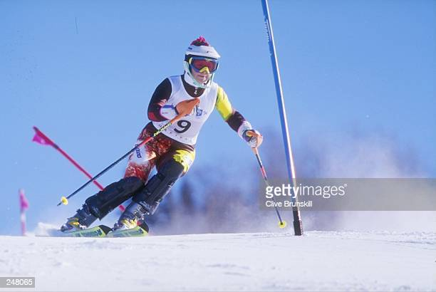 Alenka Dovzan skis downhill during the women''s combined slalom competition during the Olympic Games in Lillehammer, Norway. Mandatory Credit: Clive...