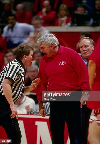 Coach Bobby Knight of the Indiana Hoosiers argues with an official during a game against the Purdue Boilermakers Indiana defeated Purdue 8280...
