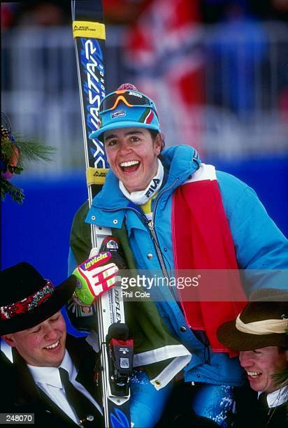 Deborah Compagnoni of Italy poses for a picture during the women''s combined slalom competition during the Olympic Games in Lillehammer, Norway....