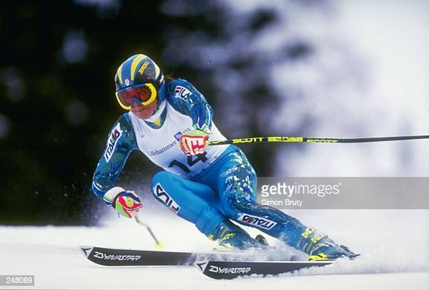 Deborah Compagnoni of Italy skis downhill during the women''s combined slalom competition during the Olympic Games in Lillehammer, Norway. COMPAGNONI...