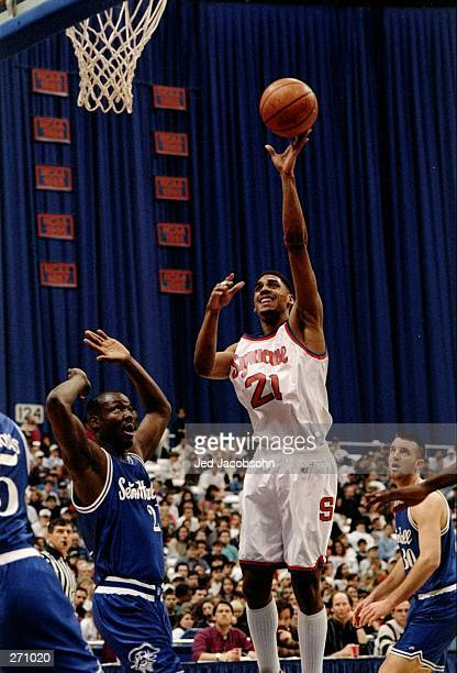 Guard Lawrence Moten of the Syracuse Orangemen shoots the ball during a game against the Seton Hall Pirates Syracuse won the game 9169