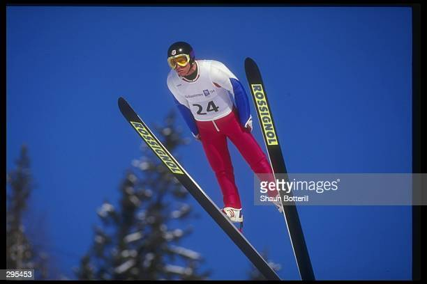 John Jarrett jumps during the Nordic Combined at the Winter Olympics in Lillihamer, Norway. Mandatory Credit: Shaun Botterill /Allsport