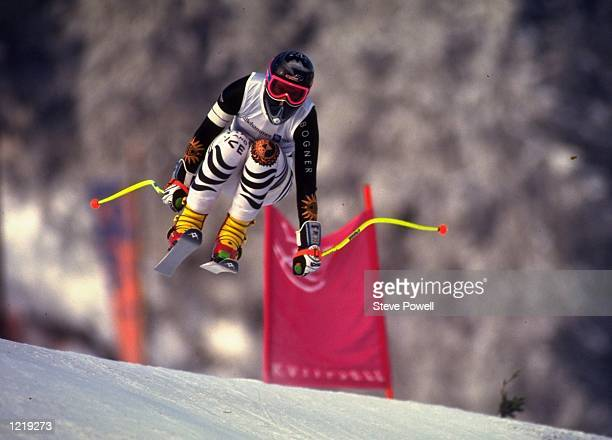 Katja Seizinger of Germany in action during a training session at the 1994 Winter Olympic Games in Lillehammer Norway Mandatory Credit Steve...