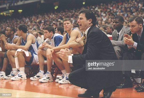 Kentucky Wildcats head coach Rick Pitino yells during a game against the Syracuse Orangemen Syracuse won the game 9385 Mandatory Credit Jed Jacobsohn...