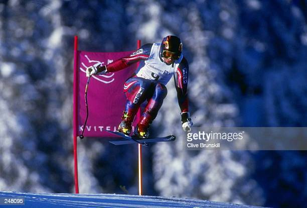 Kjetil Andre Aamodt of Norway skis downhill during the men''s downhill combined during the Olympic Games in Lillehammer, Norway. Mandatory Credit:...
