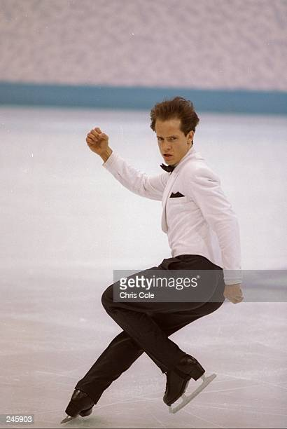 Kurt Browning of Canada does his routine during the Olympic Games in Lillehammer Norway Mandatory Credit Chris Cole /Allsport