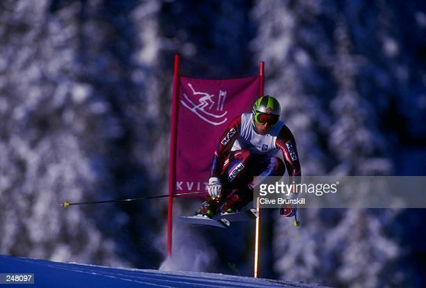Lasse Kjus of Norway skis downhill during the men''s downhill combined during the Olympic Games in Lillehammer, Norway. Mandatory Credit: Clive...
