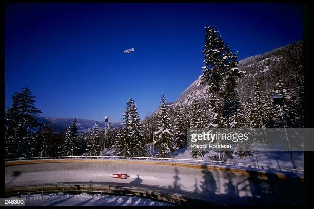Markus Schmidt of Austria goes down the track during the luge competition at the Olympic Games in Lillehammer Norway Mandatory Credit Pascal Rondeau...