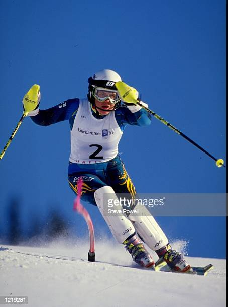 Pernilla Wiberg of Sweden in action during the Womens Combined Slalom event at the 1994 Winter Olympic Games in Lillehammer, Norway. Wiberg won the...
