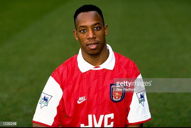 Portrait of Ian Wright of Arsenal wearing the new strip during a photocall held at Highbury in London England Mandatory Credit Ben Radford/Allsport