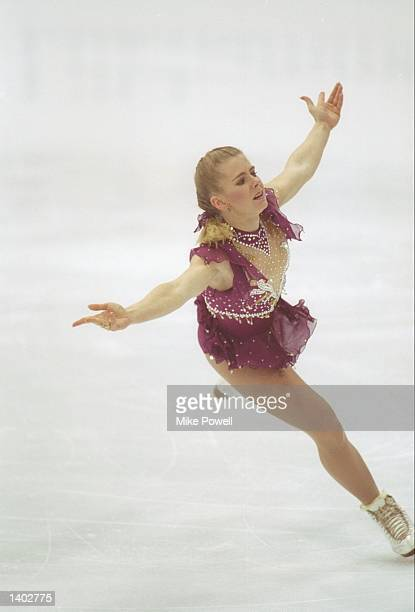 Tonya Harding of the USA in action during the women''s figure skating competition at the 1994 Winter Olympic Games in Lillehammer Norway Harding went...