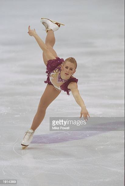 Tonya Harding of the USA in action in the free programme of the Figure Skating event during the 1994 Winter Olympics at Lillehammer Norway Harding...