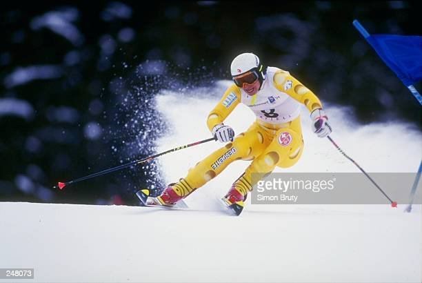 Vreni Schneider skis downhill during the women''s combined slalom competition during the Olympic Games in Lillehammer, Norway. Mandatory Credit:...
