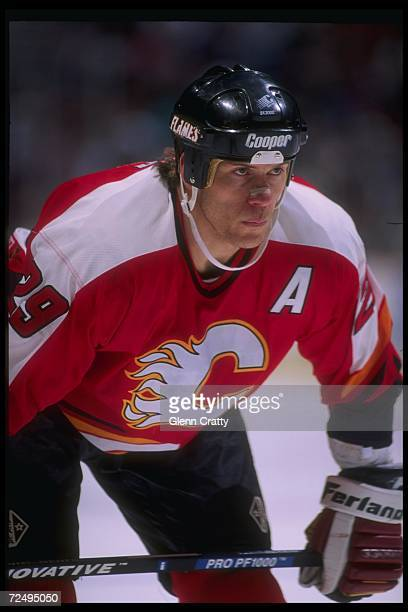 Center Joel Otto of the Calgary Flames looks on during a game against the Anaheim Mighty Ducks at Arrowhead Pond in Anaheim California The Flames won...