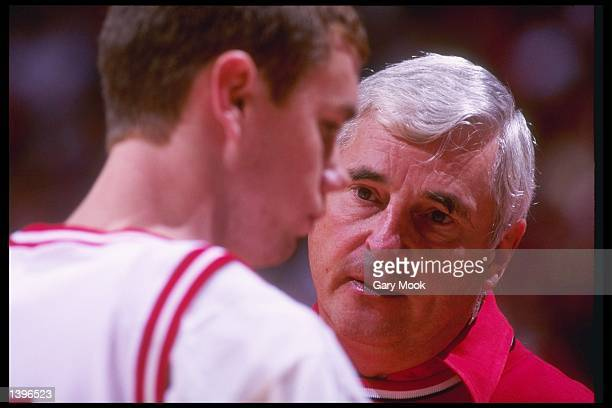 Coach Bobby Knight speaks with guard Neil Reed of the Indiana Hoosiers during a game against the Penn State Nittany Lions at Assembly Hall in...