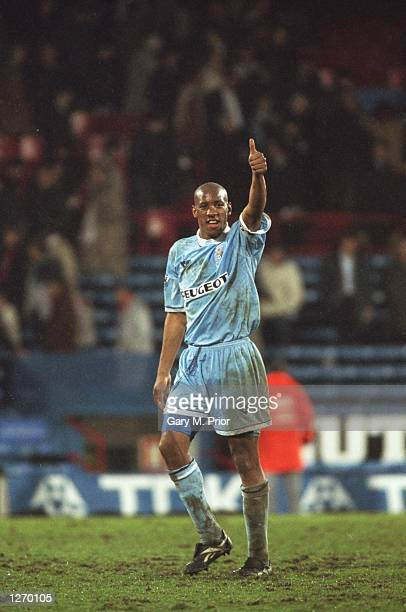 Dion Dublin of Coventry City gives a thumbs up during an FA Carling Premiership match against Crystal Palace at Selhurst Park in London Mandatory...