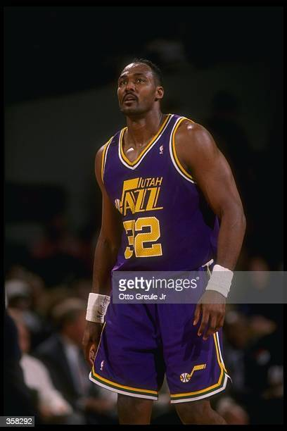 Forward Karl Malone of the Utah Jazz looks on during a game against the Portland Trail Blazers at the Rose Garden in Portland, Oregon. The Blazers...