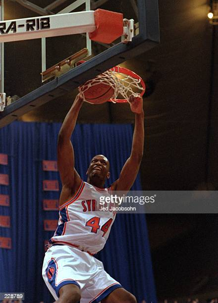 John Wallace of Syracuse dunks the basketball during the Orangemen 10076 win over Providence at Manley Arena in Syracuse New York