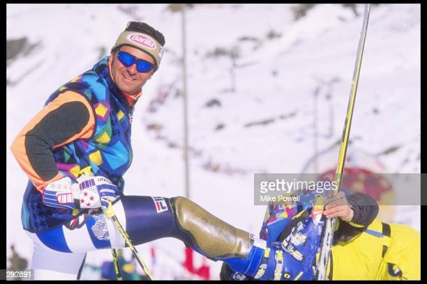 Alberto Tomba of Italy inspects the Slalom Course at the Alpine World Ski Championships in the Sierra Nevada Mandatory Credit Mike Powell /Allsport