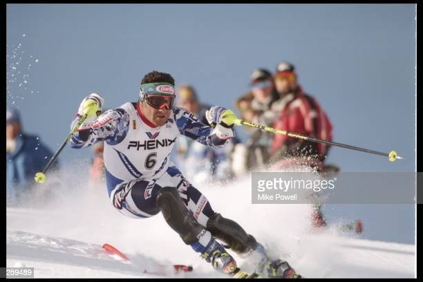 Alberto Tomba of Italy skis down the hill at the Alpine World Ski Championships in the Sierra Nevada