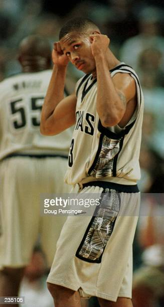 Allen Iverson of Georgetown University raises his fists triumphantly as he and the Hoyas defeated the Villanova Wildcats 10668 in their Big East...