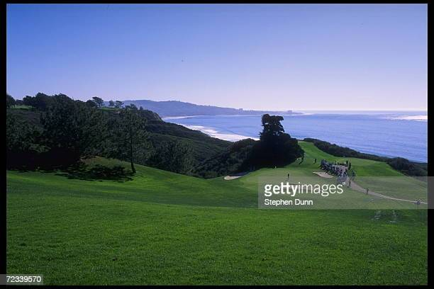 An overhead view of the north part of the Torrey Pines Golf Course where the seventh hole sits by the Pacific Ocean in La Jolla California The Buick...