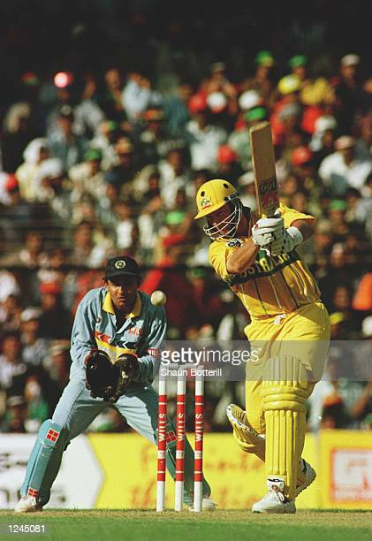 Batsman Mark Waugh of Australia plays a shot during his innings of 126 in the Cricket World Cup match between Australia and India in Bombay India...