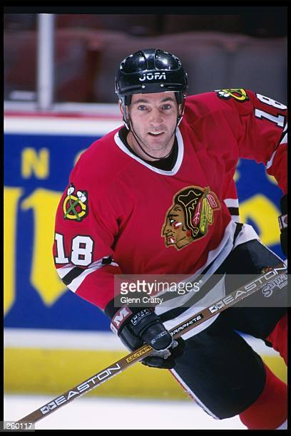 Center Denis Savard of the Chicago Blackhawks skates down the ice during a game against Anaheim Mighty Ducks at Arrowhead Pond in Anaheim California...