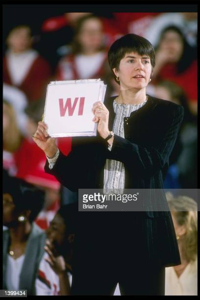 Coach Jane AlbrightDeterle of the Wisconsin Badgers watches her players during a game against the Northwestern Wildcats at the WelshRyan Arena in...