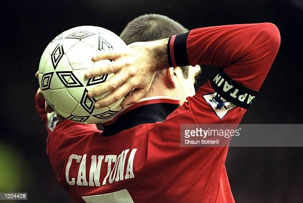 Eric Cantona of Manchester United prepares to take a throw in during an FA Carling Premiership match against Blackburn Rovers at Old Trafford in...