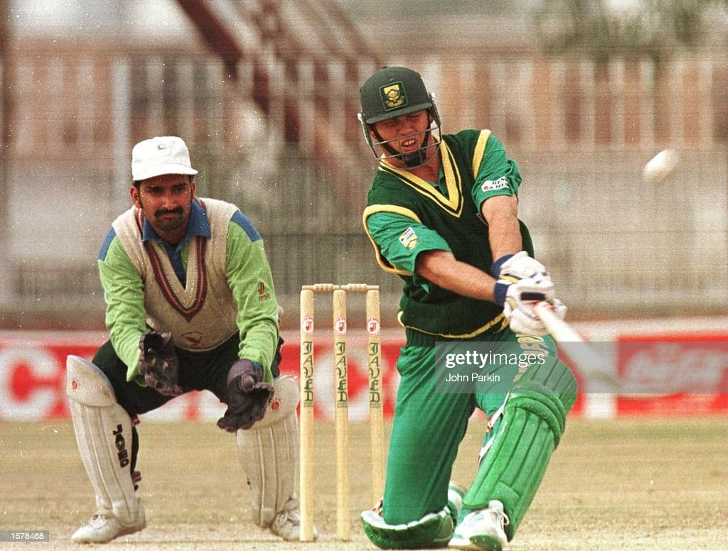 13 Feb 1996 Jacques Kallis of South Africa is on his way to todays top score of 32 today against Rawalpindi XI at the KRL cricket ground Pakistan...
