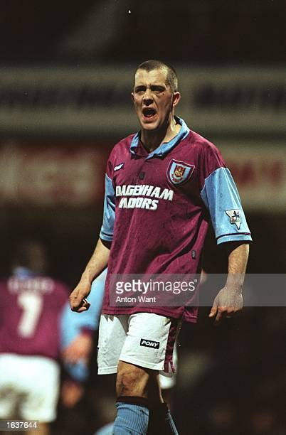 Julian Dicks of West Ham United shouts to his team mates during an FA Carling Premiership match against Newcastle United at Upton Park in London West...