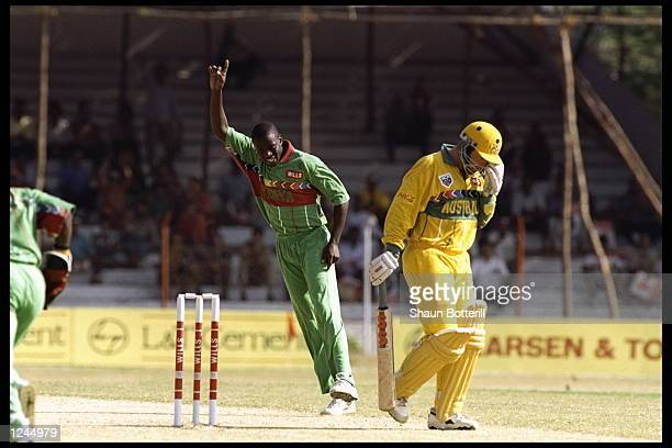 Mark Taylor of Australia is caught behind off of the bowling of Martin Suji of Kenya during the cricket world cup match in Vishkatapatnum India