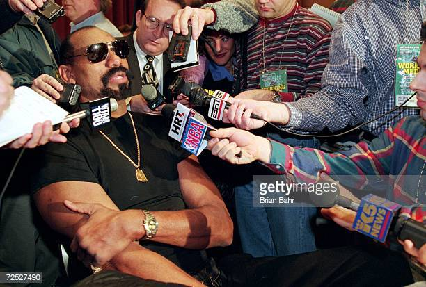 Former Los Angeles Laker Wilt Chamberlain addresses the media at a press conference before the NBA AllStar Game at the Renaissance Hotel in Cleveland...